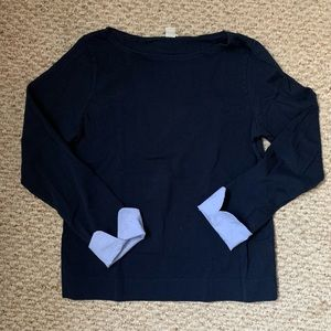 J. Crew Navy Long Sleeve with Blue Sleeve Detail